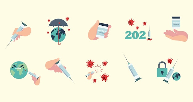 Vaccin wereld bescherming bewustzijn medische spuit en flesje geneeskunde illustratie