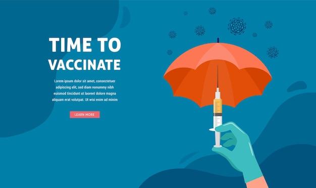 Vaccinatie conceptontwerp. tijd om banner te vaccineren. paraplu-vormige spuit met vaccin voor covid-19