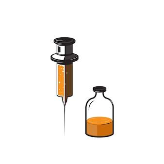 Vaccinatie en gezondheidsconcept illustratie van een spuit en antibacterieel teken medische immunisatie