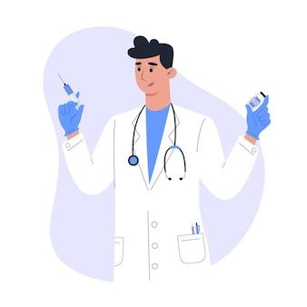 Vaccinatie en injectie, mannelijke arts in medische jurk met vaccin