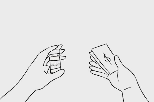 Vaccinatie hand getekende vector, big pharma concept