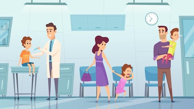 Vaccinatie in de kliniek. het medische het ziekenhuisarts van achtergrondbeeldjonge geitjes die veiligheidsinjectie van het concept van de griepgezondheidszorg maken