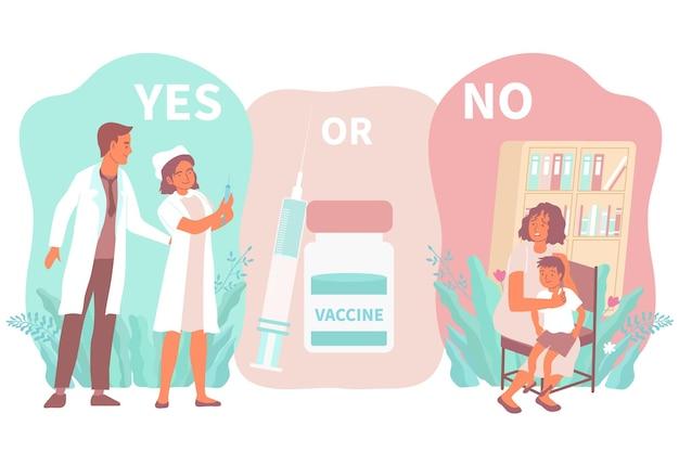 Vaccinatie ja of nee illustratie