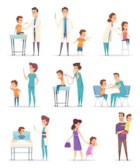 Vaccinatie. kinderen in het ziekenhuis met arts injectie meisjes en jongens medische illustraties maken