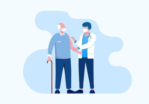 Vaccinatie met dokter platte vectorillustratie voor banner bestemmingspagina