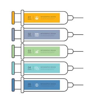 Vaccinatie naald abstracte spuit infographic. medische en gezondheidszorg infographic sjabloon.