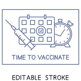Vaccinatie schema lijn icoon. tijd om te vaccineren. immunisatie concept. spuit, kalender en wekker. symbool voor tweede injectietijd. gezondheidszorg en bescherming. medische behandeling
