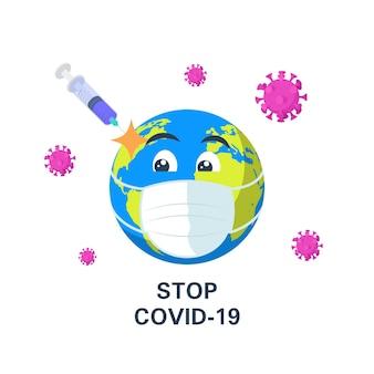 Vaccinatie tegen het coronavirus op de planeet aarde.
