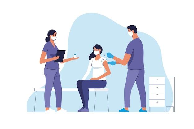 Vaccinatie tegen het coronavirus. vrouw wordt ingeënt