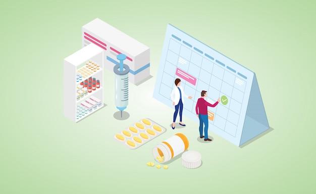 Vaccinatie tijd mark kalender met verschillende spuit en medicijnpillen met isometrische moderne vlakke stijl