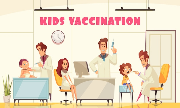 Vaccinatie van kinderen illustreerde hoe medisch personeel jonge patiënten in de kliniek vaccineert