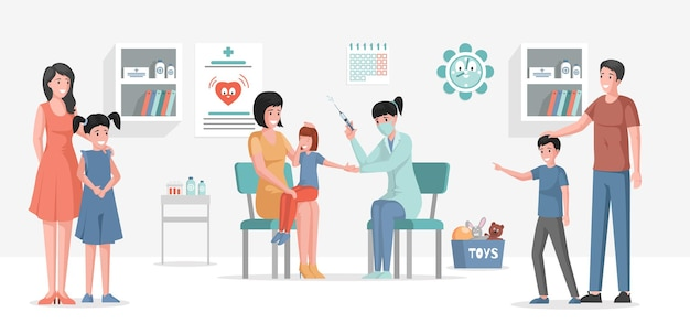 Vaccinatie van kinderen tegen verschillende ziekten vector platte cartoon afbeelding