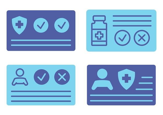 Vaccinatiebewijs tegen paspoort voor reizen in de tijd pandemie medisch dossier in blauwe kleur