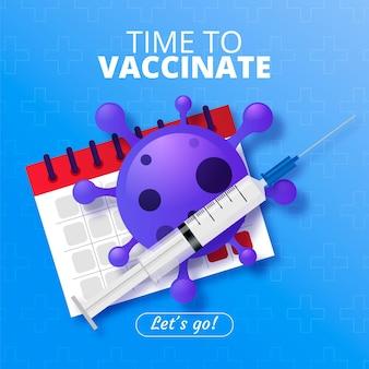 Vaccinatiecampagne met realistische afbeelding