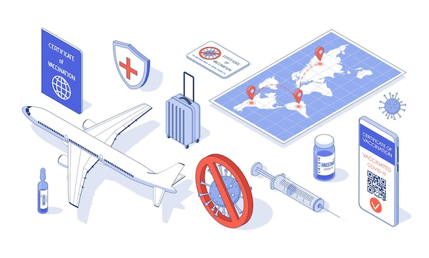 Vaccinatiecertificaat in app op telefoon en vaccin, spuit, vliegtuig, kaart, koffer.