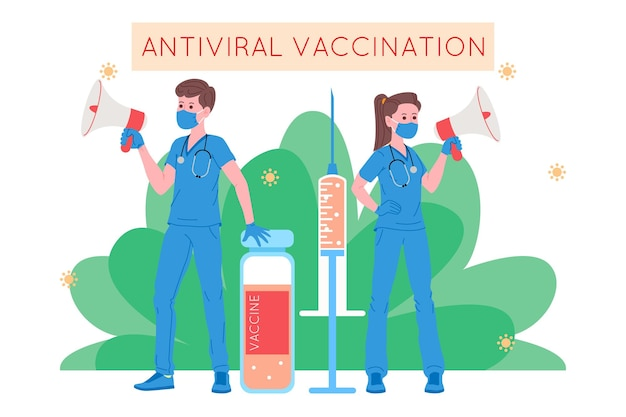 Vaccinatieconcept voor immuniteitsgezondheid. vaccin tegen covid-19. artsen maken een injectie met griepvaccin aan patiënt in het ziekenhuis en nodigen vervolgens uit. gezondheidszorg, coronavirus, preventie en immuniseren