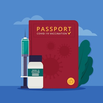 Vaccinatiepaspoort met plat ontwerp voor op reis