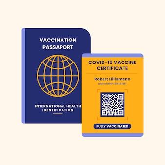 Vaccinatiepaspoort met plat ontwerp