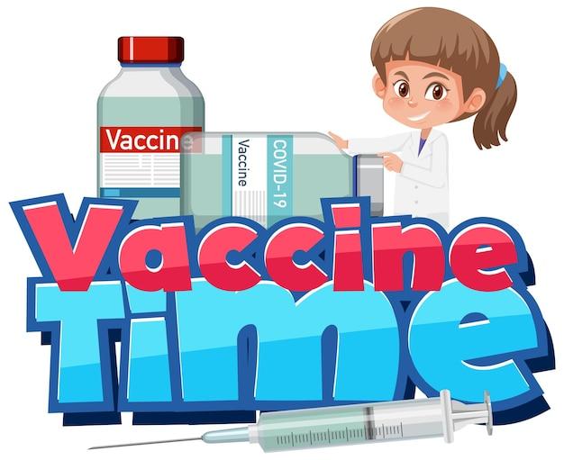 Vaccine time-lettertype met een dokter en vaccinflessen