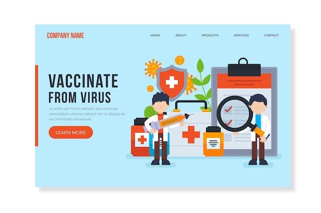 Vaccineer vanaf de bestemmingspagina van het virus