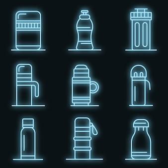 Vacuüm geïsoleerde waterfles iconen set. overzicht set van vacuüm geïsoleerde waterfles vector iconen neon kleur op zwart
