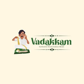 Vadakkam zuid-indiase maaltijd vector mascotte logo ontwerpsjabloon