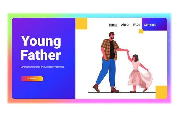 Vader dansen met dochter balletles ouderschap vaderschap concept vader tijd doorbrengen met zijn kind horizontale volle lengte