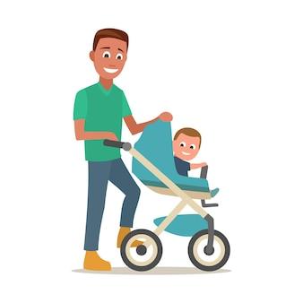 Vader draagt kind in een kinderwagen. kleur platte vectorillustratie geïsoleerd op een witte achtergrond.