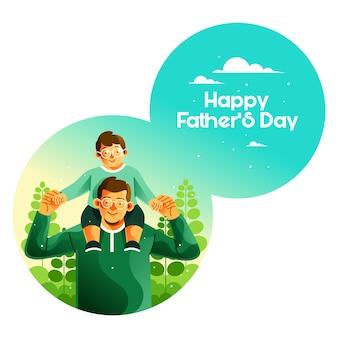 Vader draagt zoon op zijn schouder op vaderdag