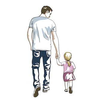 Vader en dochter hand in hand lopen Premium Vector