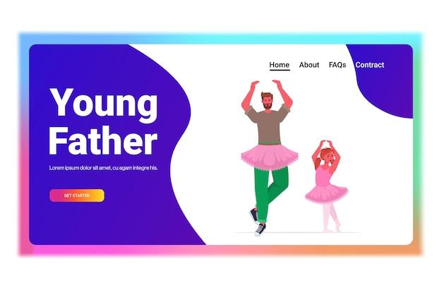 Vader en dochter in roze rokken dansen als ballerina's ballet les ouderschap vaderschap concept vader tijd doorbrengen met zijn kind volledige lengte kopie ruimte horizontale vectorillustratie