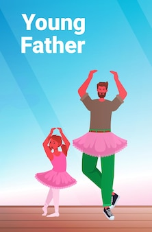 Vader en dochter in roze rokken dansen als ballerina's balletles ouderschap vaderschap concept vader tijd doorbrengen met zijn kind volledige lengte verticale vectorillustratie