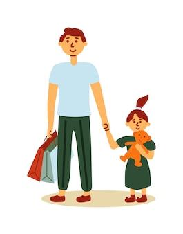 Vader en dochter kind samen winkelen geïsoleerd op wit