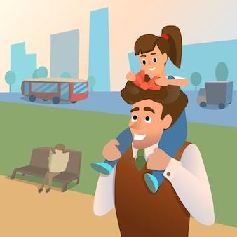 Vader en dochter lopen samen in het stadspark. dochter bindt papa boog.