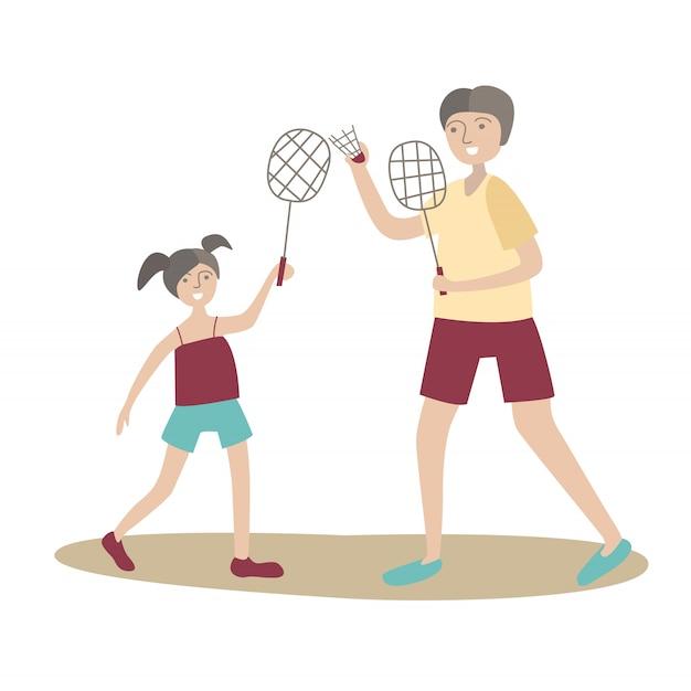 Vader en dochter spelen badminton. familie sport en lichaamsbeweging met kinderen, gezamenlijke actieve recreatie. illustratie in stijl, op wit.