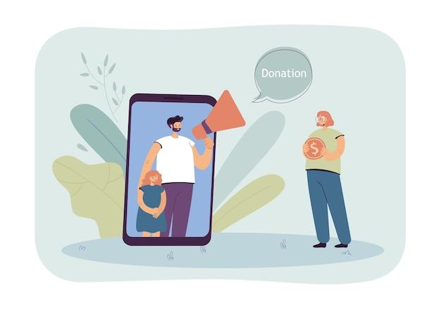 Vader en dochter vragen om hulp bij fondsenwerving via mobiel. meisje doneert geld online vlakke afbeelding