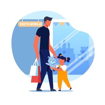 Vader en kind buiten toy store vector illustration