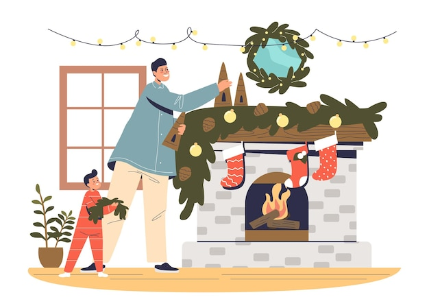 Vader en kind decoreren open haard voor kerstmis. papa en jongen bereiden zich voor op kerstmis en nieuwjaar