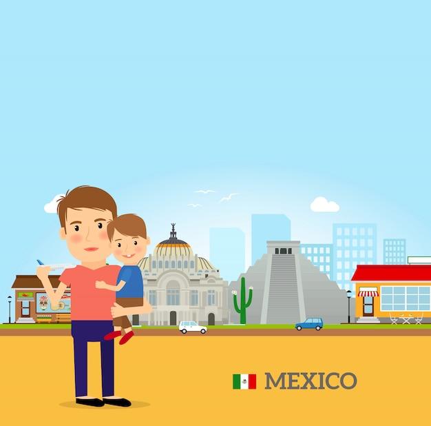 Vader en kind in mexico