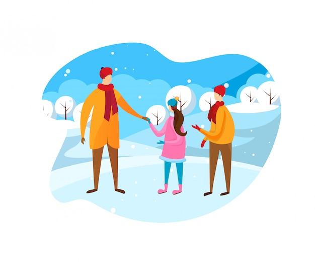 Vader en kinderen lopen op zonnige winterdag