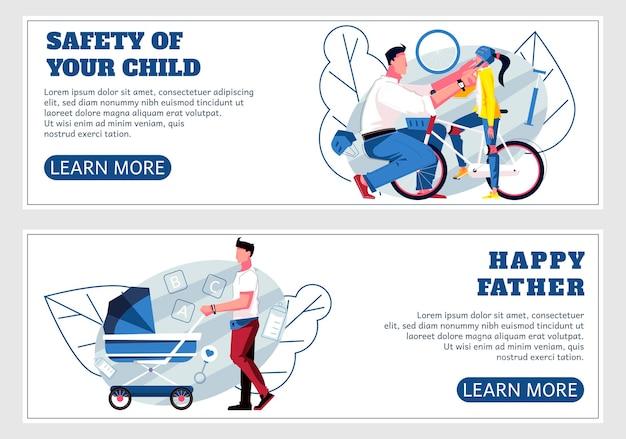 Vader en kinderen twee horizontale banners