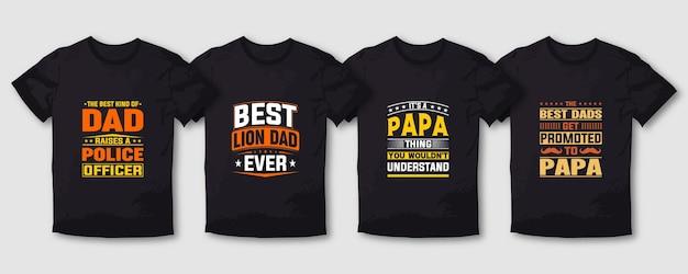 Vader en mama typografie t-shirt ontwerp belettering set