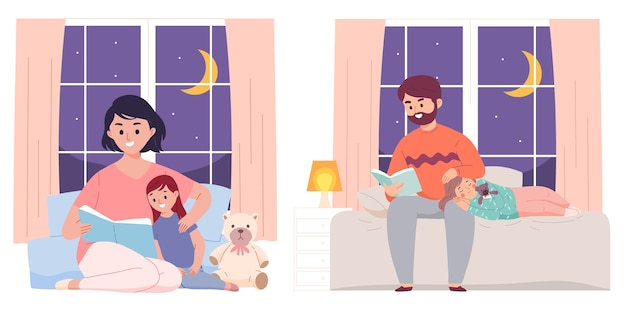 Vader en moeder lezen boek bed aan dochter voordat slapen op nacht