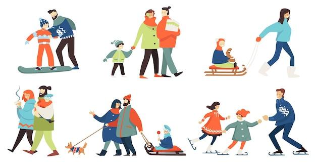 Vader en moeder met kind plezier in de winter. snowboarden en kunstschaatsen, personages wandelen en hete thee drinken, kind zittend op een slee. wintertijd weekenden of feestdagen, vector in flat