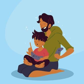 Vader en zoon aan het spelen