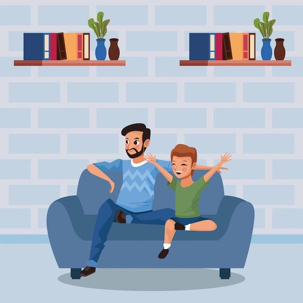 Vader en zoon blijven thuis campagne