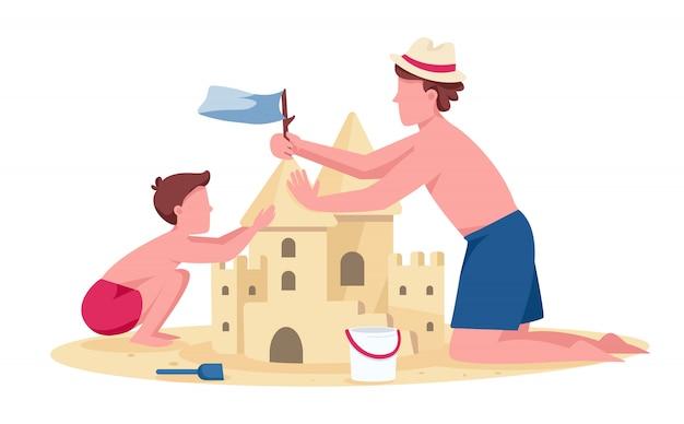 Vader en zoon bouwen zandkasteel egale kleur gezichtsfiguren. familie zomer entertainment op strand geïsoleerde cartoon illustratie voor web en animatie