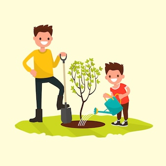 Vader en zoon die een boomillustratie planten