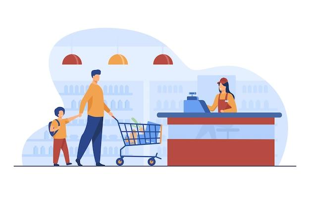 Vader en zoon die voedsel in supermarkt kopen. kassier, trolley, winkel platte vectorillustratie. winkelen en supermarkt concept