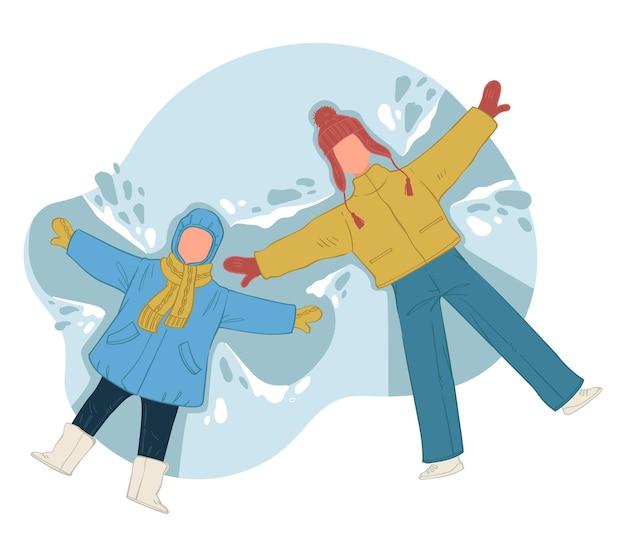 Vader en zoon doen sneeuwhoeken met vleugels. papa en kind die op sneeuw leggen. winterplezier en vrije tijd buitenshuis. familie vakanties en wintervakanties samen buiten doorbrengen. vector in vlakke stijl